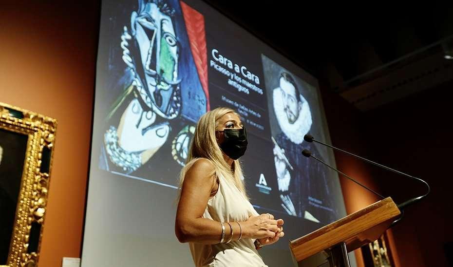 La consejera de Cultura y Patrimonio, Patricia del Pozo, ha presentado la exposición 'Cara a cara. Picasso y los maestros antiguos'.