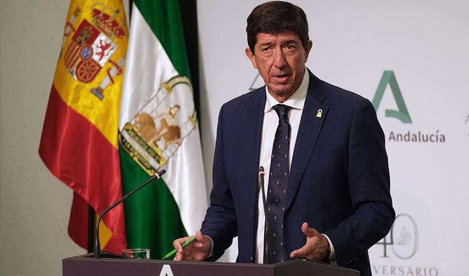 El vicepresidente de la Junta de Andalucía, Juan Marín, durante la rueda de prensa tras la reunión del Consejo de Gobierno de la Junta de Andalucía.